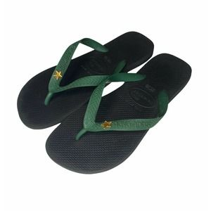 Havaiana Star Flip Flops 39-40 Black Green EUC